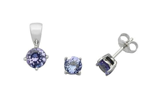Tanzanite Pendant and Earrings Set Classic Solitaire 9ct White Gold Hallmarked